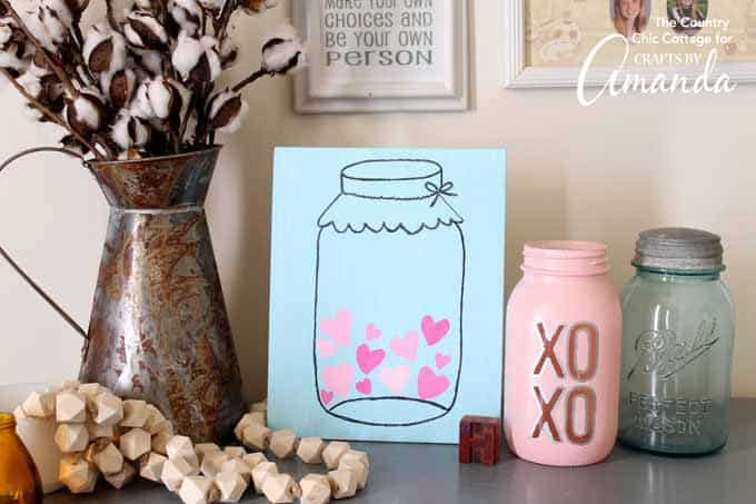 Grab your supplies and get started on this Mason Jar Valentine's Day art or use the same technique to make art for other seasons.