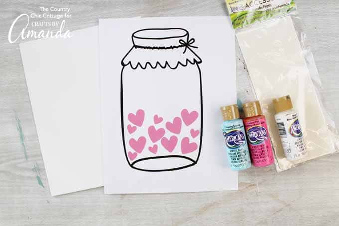 How to make a mason jar Valentine's Day art- free printable.