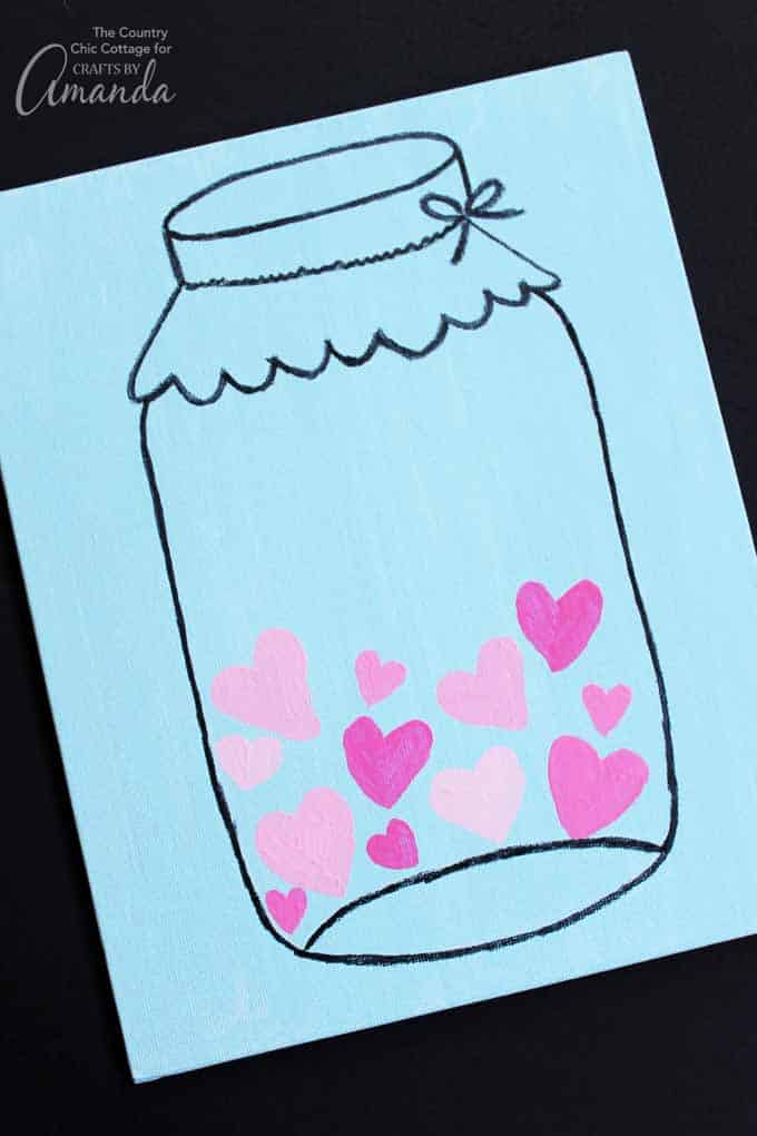 Mason Jar Valentineu0027s Day Art