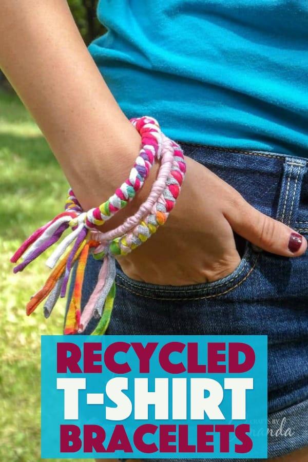 DIY Recycled T-shirt Bracelets