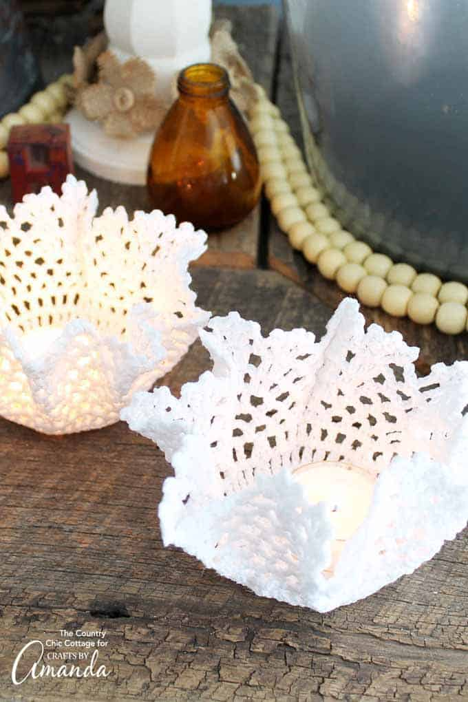 You can make these doily tea light holders in just minutes.