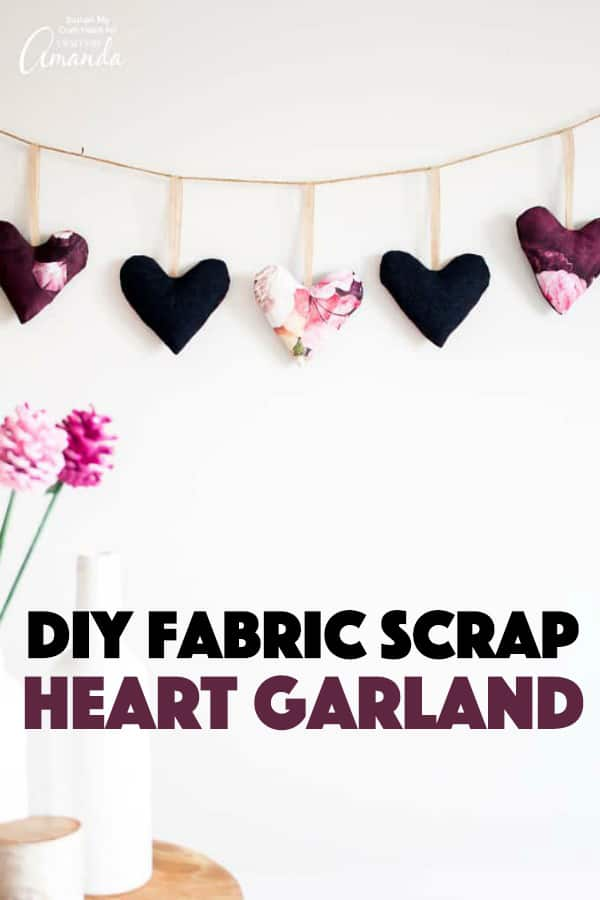 Fabric Scrap Heart Garland for Valentine's Day