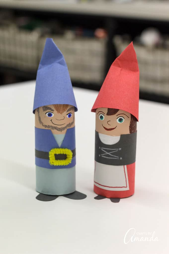 cardboard tube gnomes from Sherlock Gnomes