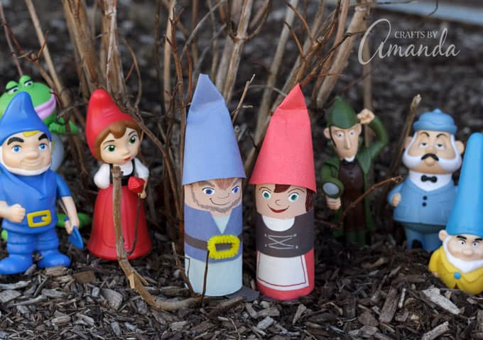 Fun cardboard tube gnomes inspired by the characters of Sherlock Gnomes