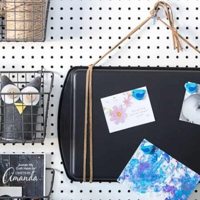 We'll show you how to re-purpose an old and no longer usable cookie sheet into a practical and stylish new magnetic board for your kitchen, office space or craft room.