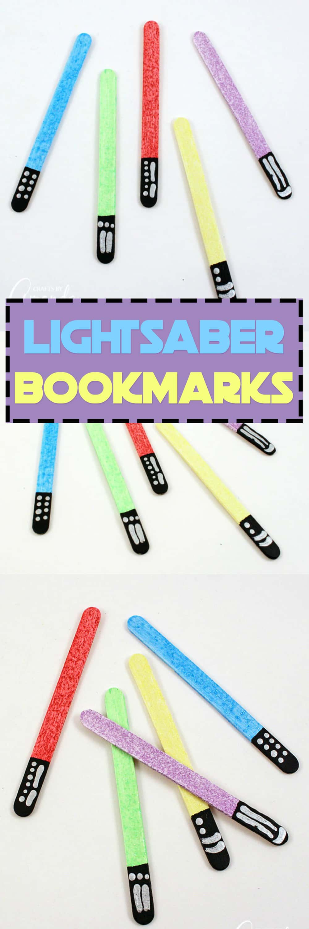 Keep your place in your favorite books by making glittery lightsabers in different colors! These lightsaber bookmarks are great for home or school.