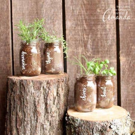This quick and easy mason jar herb garden is a great addition to your porch or even your kitchen window.Imagine an entire line of these on your windowsill!