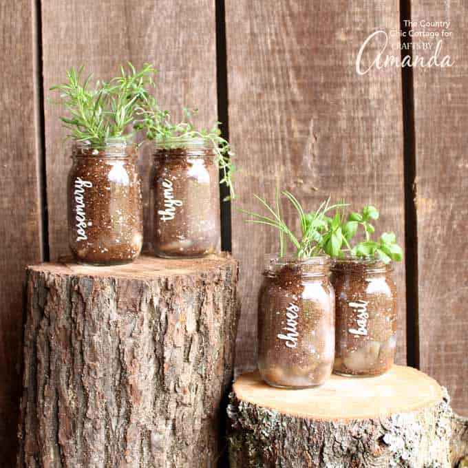 This quick and easy mason jar herb garden is a great addition to your porch or even your kitchen window. Imagine an entire line of these on your windowsill!