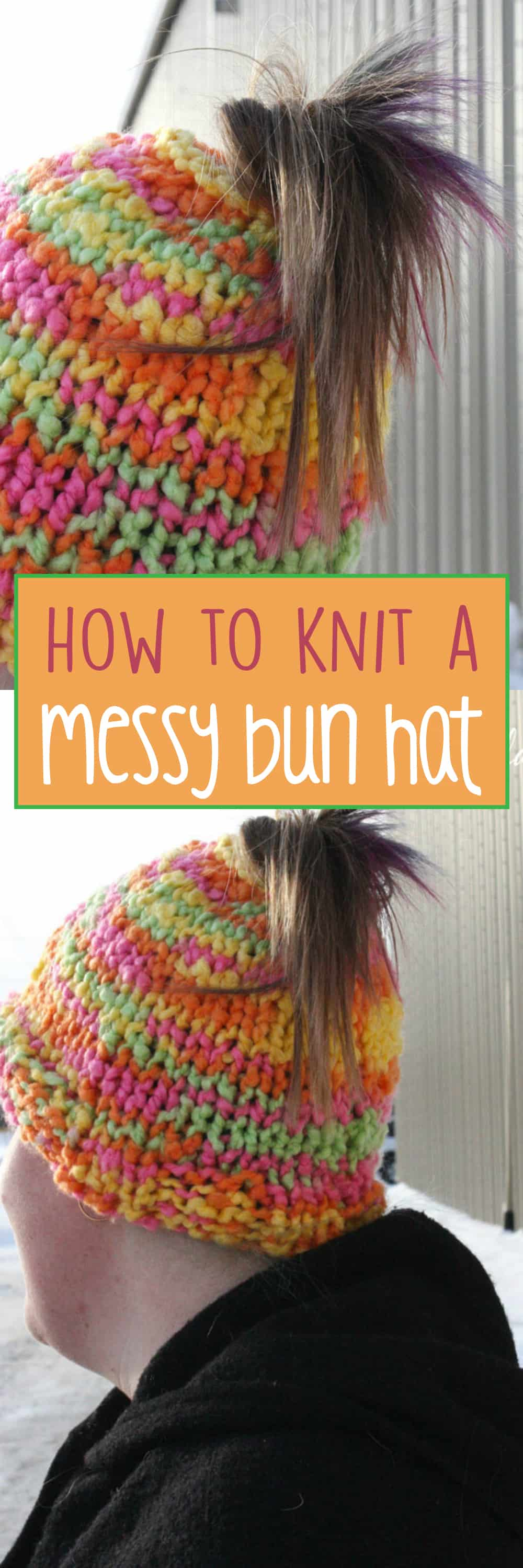 This tutorial for our messy bun hat (also known as the mom bun hat or the ponytail hat) is quite possibly the simplest version out there.