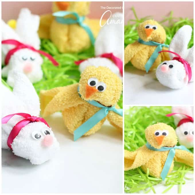 These Washcloth bunny and chick are great for including in a baby shower gift or an Easter basket!