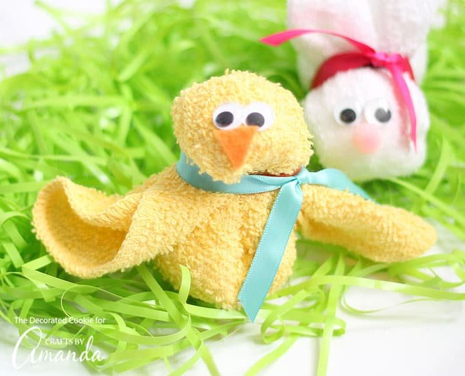Adorable washcloth bunny and chick