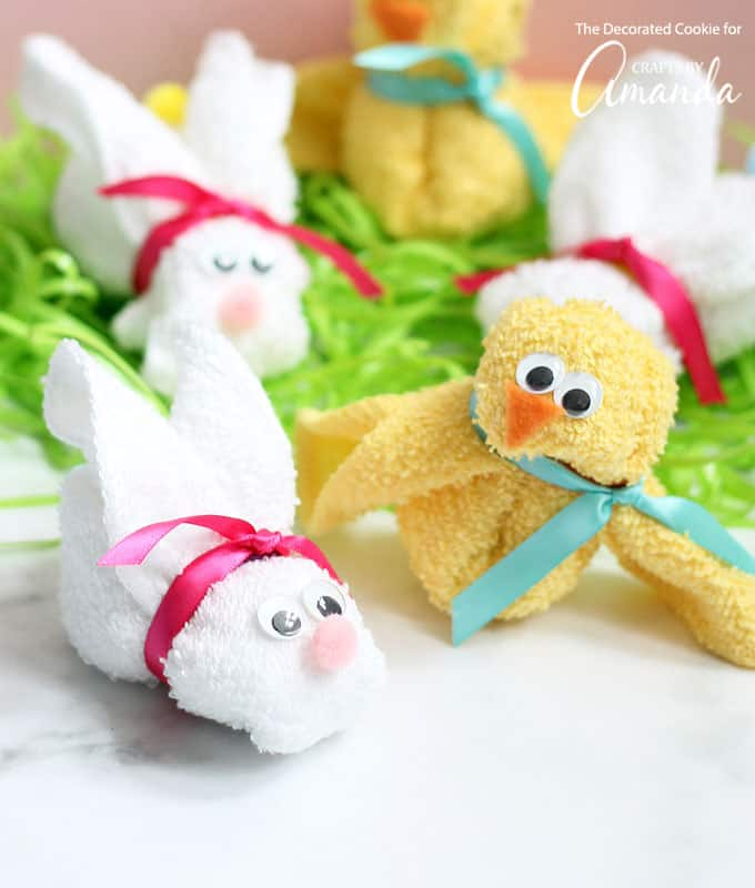 Easter bunny and chick made from a washcloth