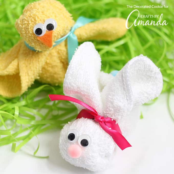 easter bunny made from a washcloth