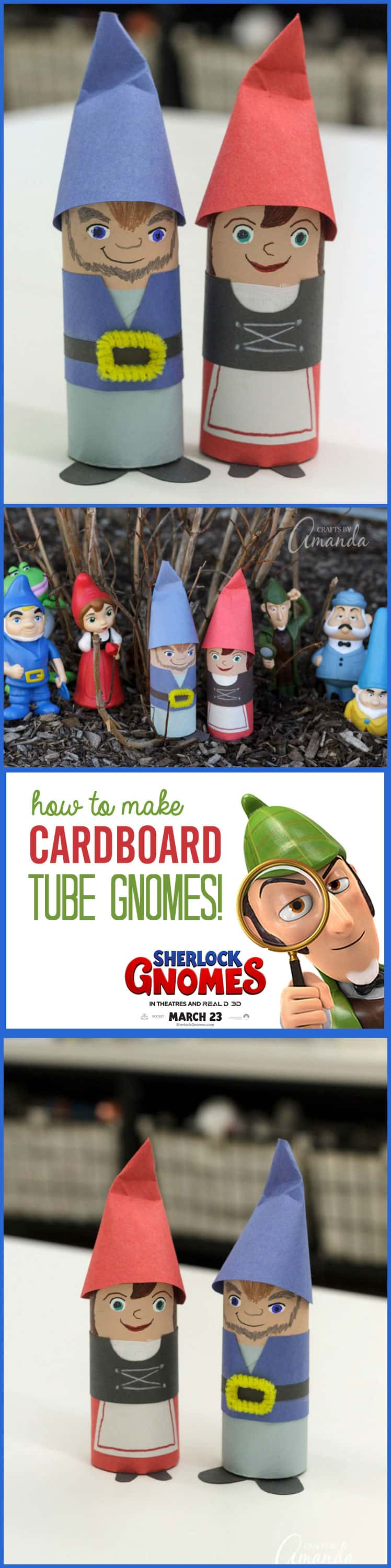 Get the kids together to make Gnomeo and Juliet, adorable cardboard tube garden gnomes from the new filk #SherlockGnomes in theaters March 23, 2018! #ad