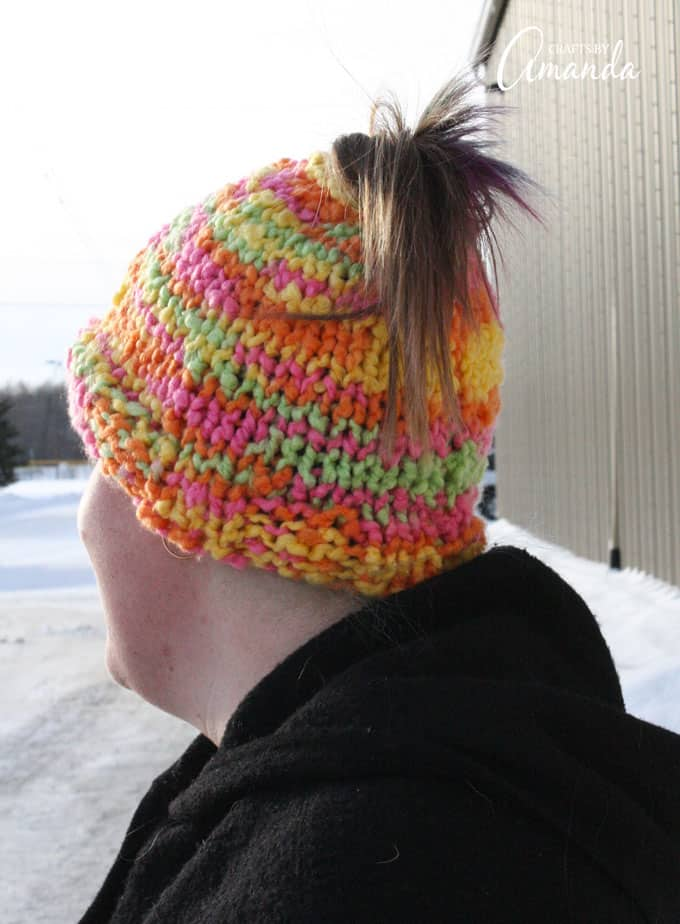 How to Knit a Messy Bun Hat