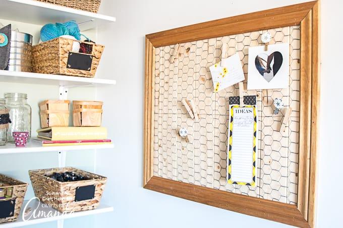 scrap wood memo board on wall