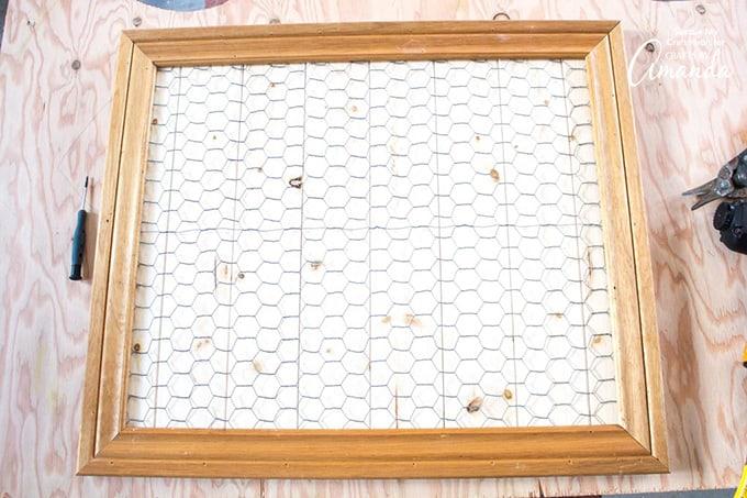 chicken wire on scrap wood frame