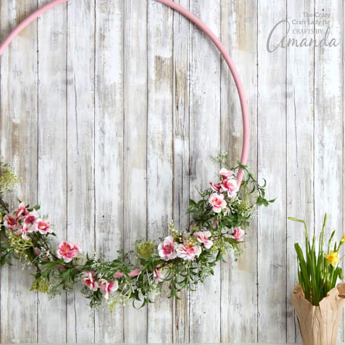 Giant Hula Hoop Wreath for spring decor