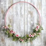 This cherry blossom hula hoop wreath will make a cheery addition to your spring décor. Hang it above your mantel or on your wall for a pop of spring color.