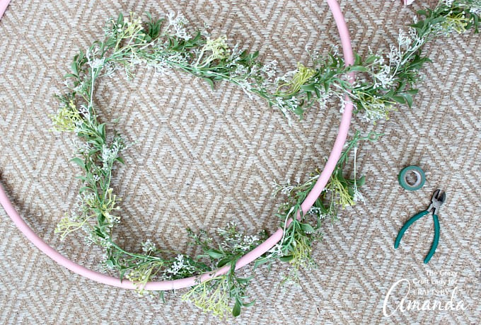 How to Make Giant Spring Hula Hoop Wreath step 2