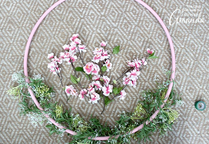 How to Make Giant Spring Hula Hoop Wreath step 3