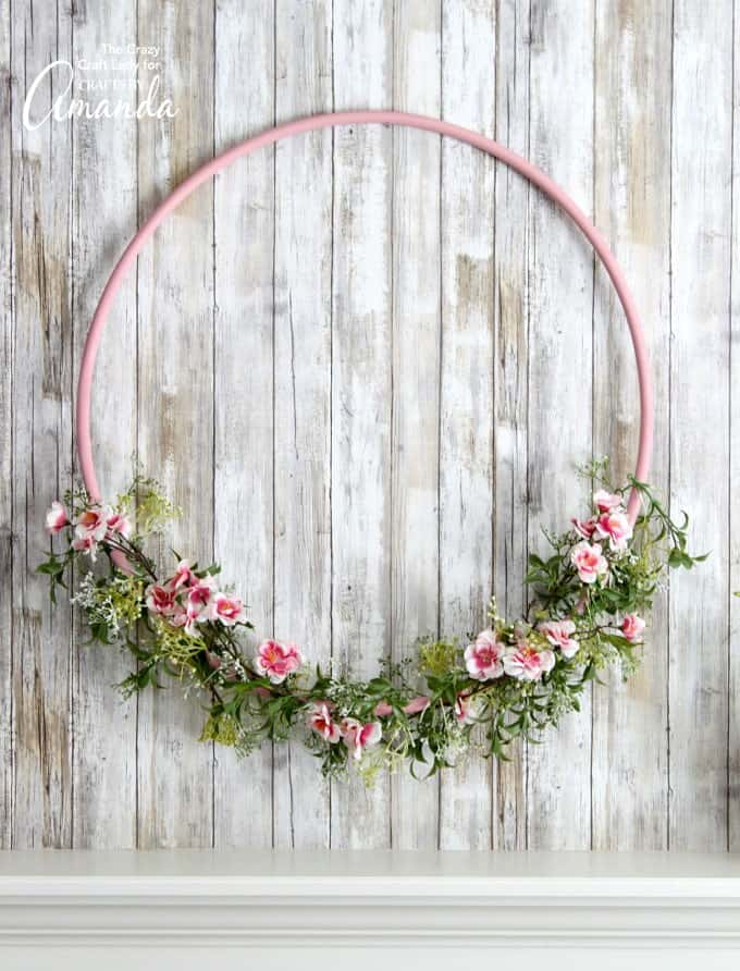 Hula Hoop Wreath for Spring