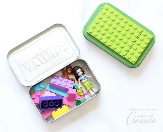 How to make Lego Altoid Tins. Open tin with LEGOs in it