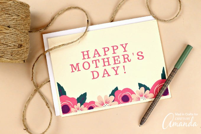 Happy mother's day printable card with floral print on tan backround