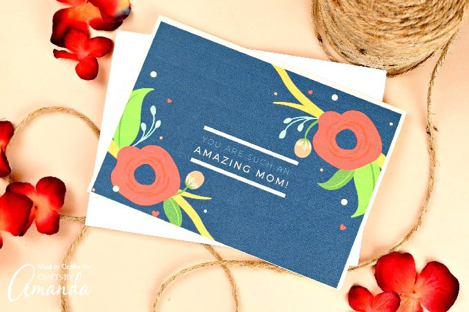 You are such an amazing mom card, blue with floral print