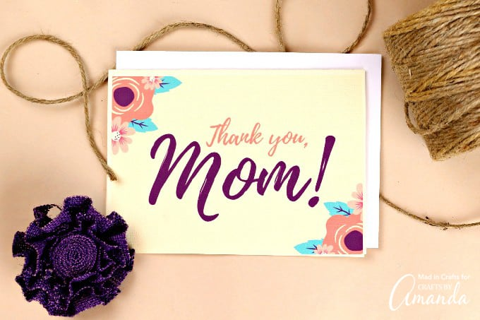 Thank you, Mom card with flowers
