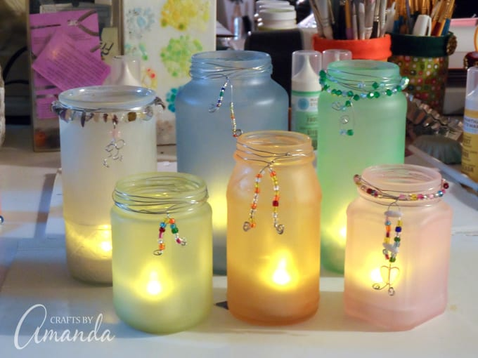 Making beaded frost luminaries