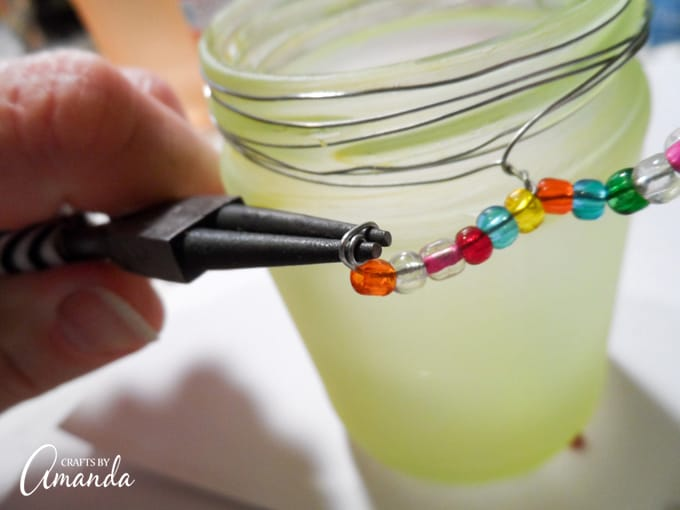 How to make beaded frost luminaries step 5