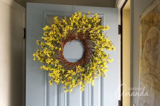 forsythia wreath on door