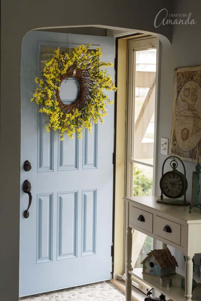 Learn how to make a beautiful Forsythia Wreath for your door.