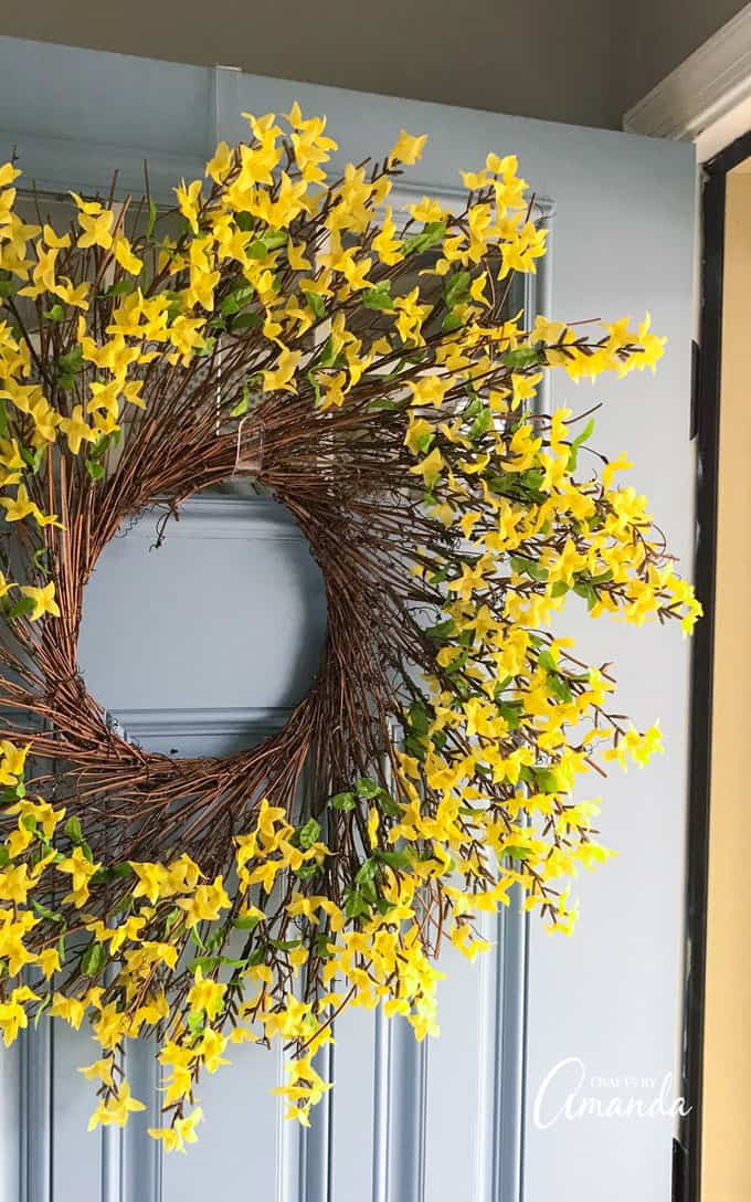 Up close of Forsythia Wreath