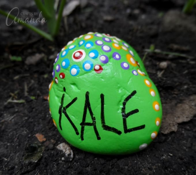 Painted Rock Garden Markers- Kale