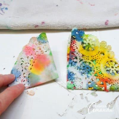 Paper Doily Butterflies step 5
