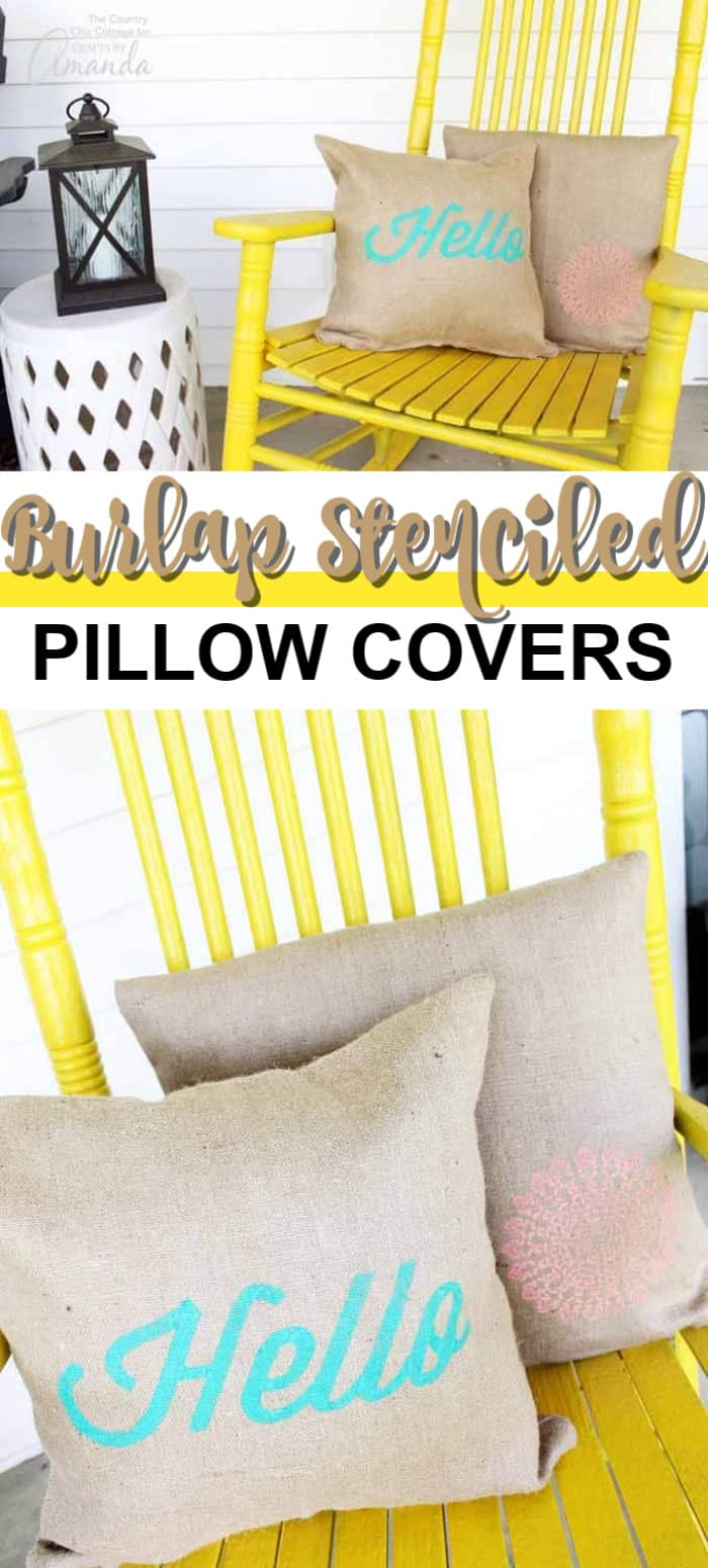 stenciled burlap pillow covers for your outdoor space