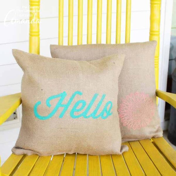 Burlap Stenciled Pillow Covers