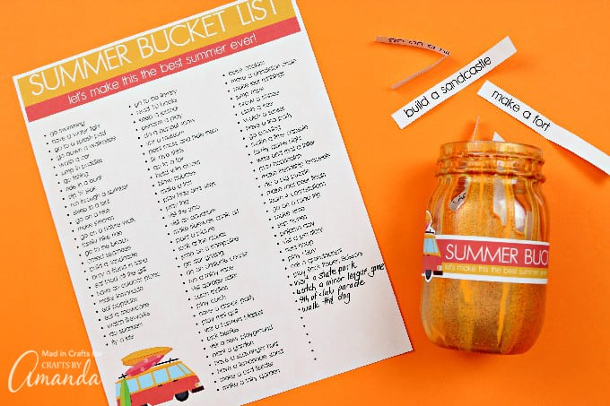 Printable Summer Bucket List with orange bucket list jar