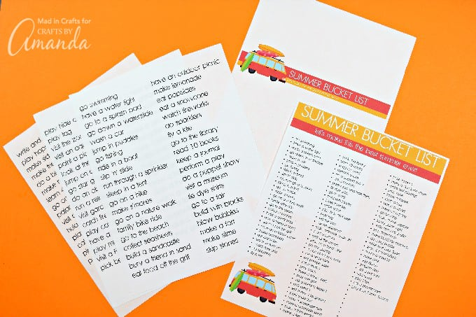 summer bucket list printable on orange background