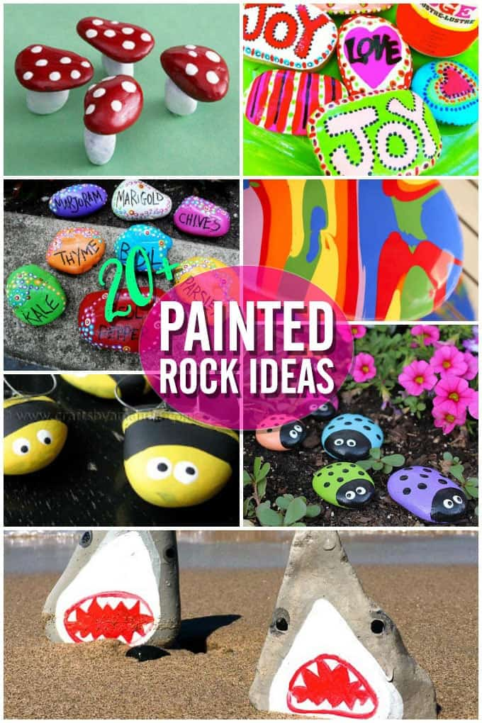 20+ Rock painting ideas! Looking for some fun summer painted rock projects? Here are plenty to choose from!