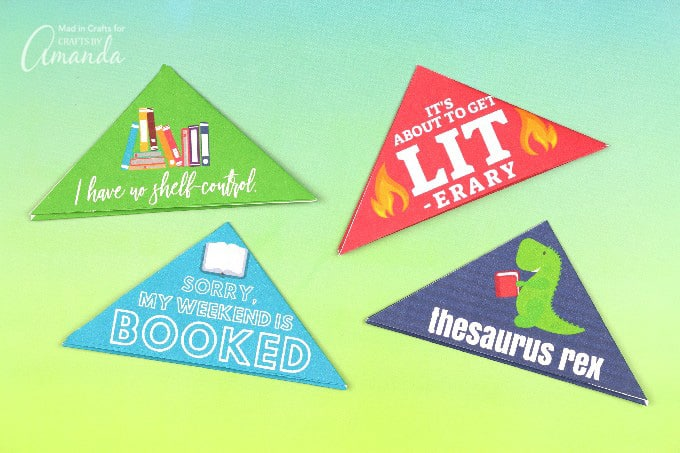 Corner bookmark printables in green, blue, red, and purple