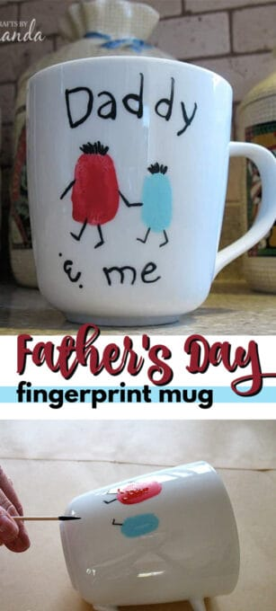 father's day fingerprint mug pin image