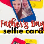 father's day selfie card pin image