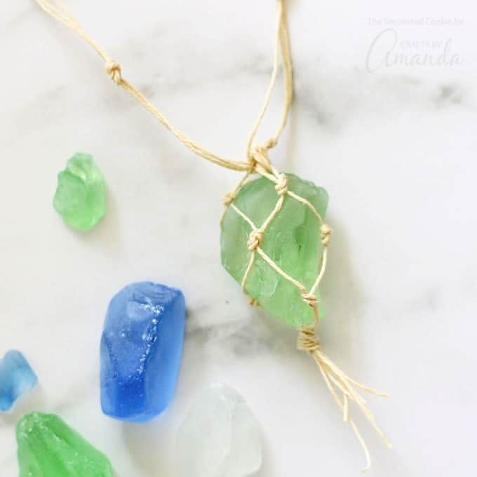macrame sea glass necklace