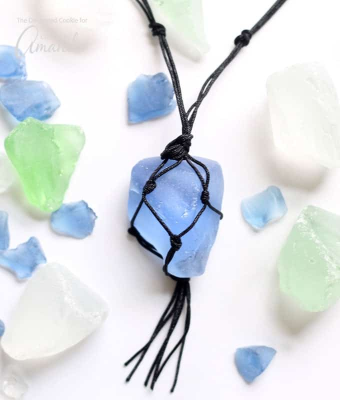 blue macrame sea glass necklace with black cording
