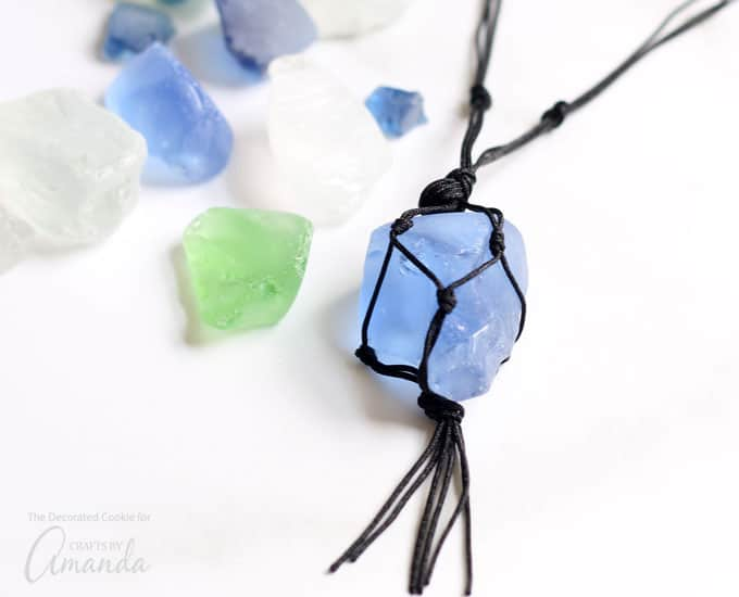 macrame sea glass necklace with black cording