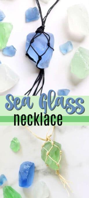 macrame sea glass necklace pin image