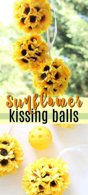 sunflower kissing balls pin image